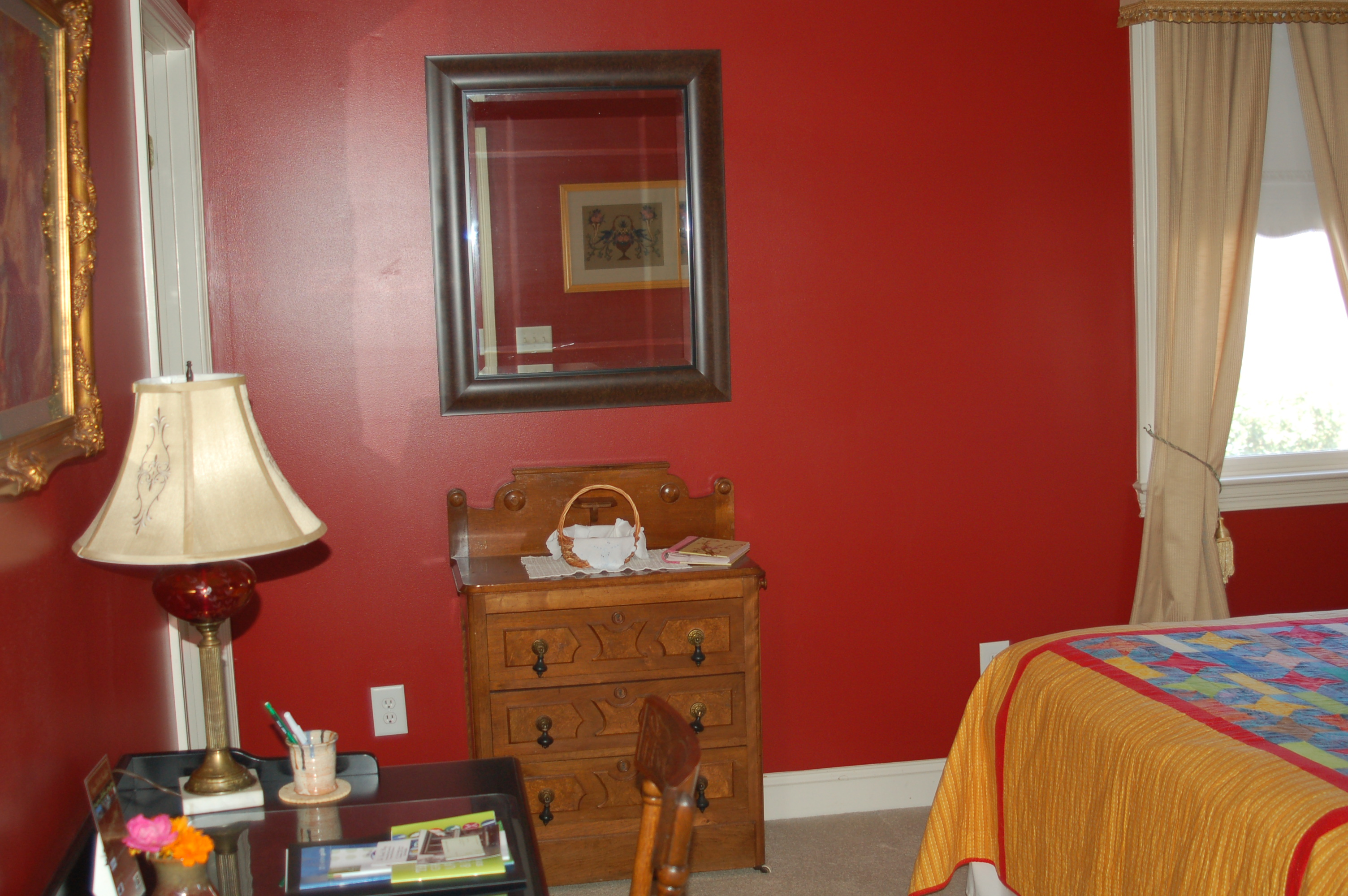 Red guest room at Haynes Bed and Breakfast